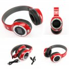 Wireless Hi-fi Stereo Headphones LCD Sport Player FM TF Card Slot Red for Moblie