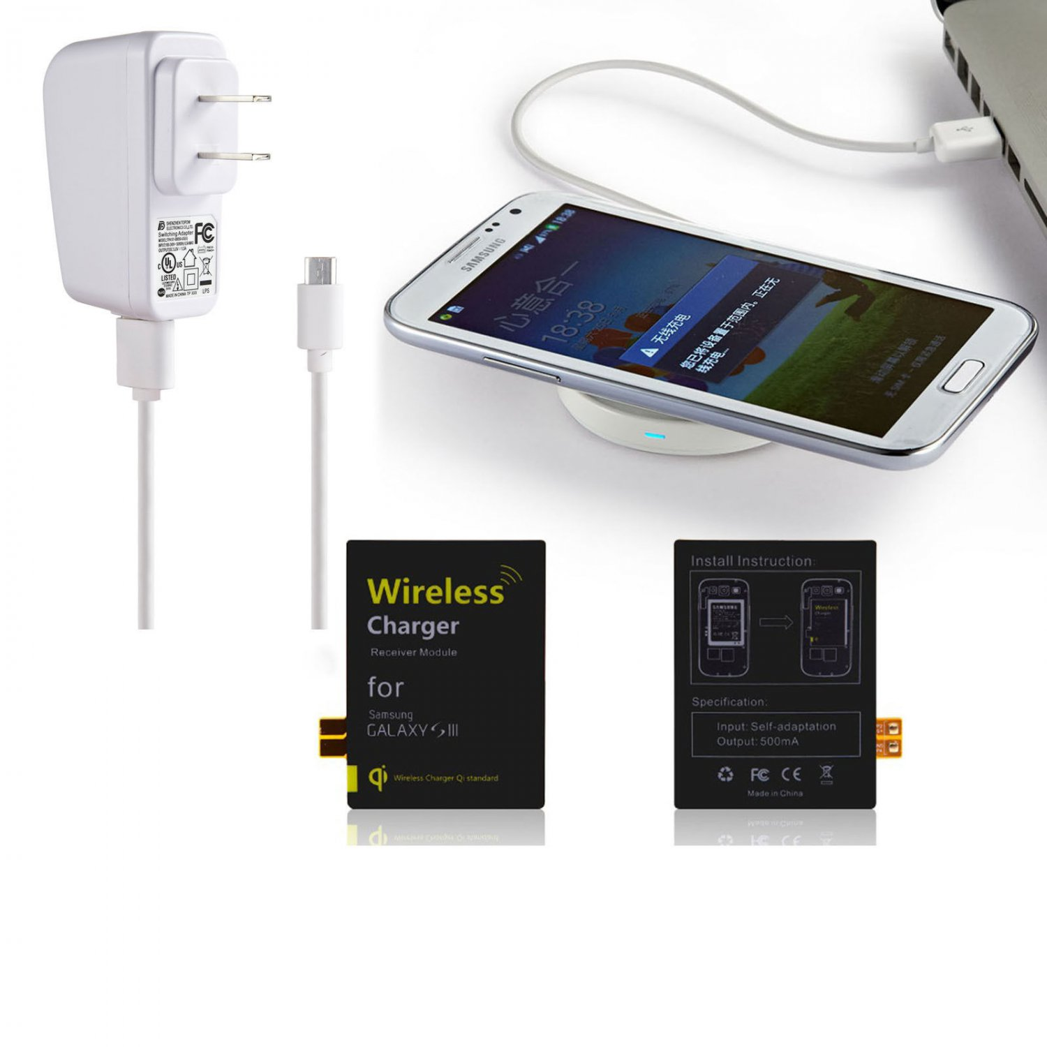Qi Wireless Charger Pad Panel + Receiver for Samsung Galaxy Note 2/3 S4 S3 i9300