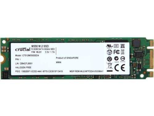 Crucial M550 CT512M550SSD4 M.2 Type 2280 512GB SATA 6Gb/s MLC Internal Solid State Drive