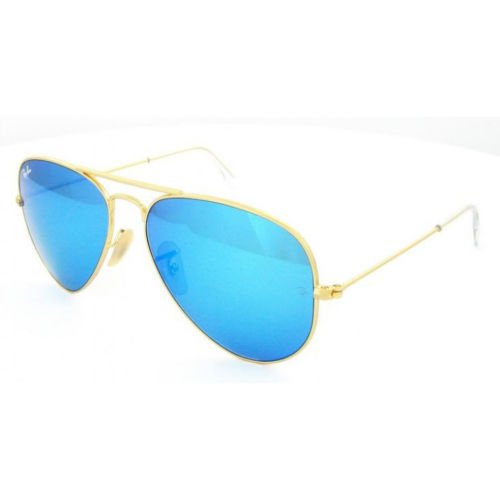 Gold Frame Blue Large Aviator Ray Ban RB3025 Sunglasses (Mirror Lens) 58mm