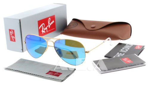Ray-Ban RB 3025 112/17 Gold w/ Blue Mirror Lens Unisex Aviator Sunglasses