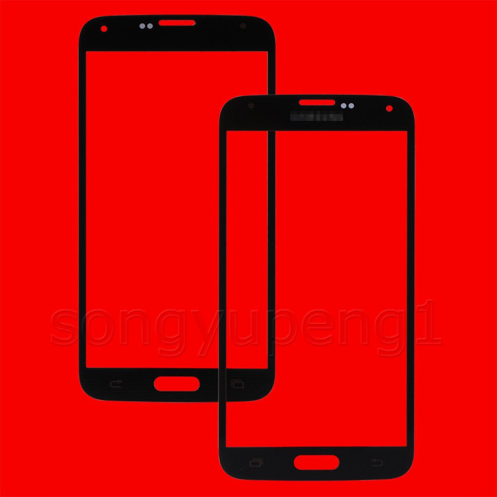 Black Front Screen Glass Lens Replacement + Adhesive for Samsung Galaxy S5 G900 i9600