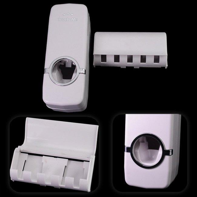 Household Automatic Auto Toothpaste Dispenser& Free Brush Holder White