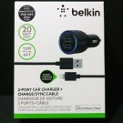 New Belkin Dual 2 Port Car Charger with Lightning to USB Cable 20 Watt/ 4.2 Amp