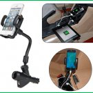 Two USB Charger Mount Holder For GPS iPod PDA Mobile Phone + Car Cigarette Lighter