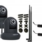 Foscam FI8910W Black wIth 9dbi and Bracket with 10ft Extension Cord 2PACK Bundle