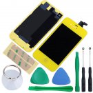 iPhone 4 GSM Touch Screen LCD Display Digitizer Assembly Kit+Back Yellow Colour