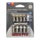 New LOT OF 2 GE Quad Shield RG6 Crimp-ON Cable Connectors 12 PACK - 87670