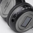 Black Digital wireless Stero Headphone with LCD FM Radio and Chargable Battery