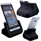 Black Desktop USB Sync Data Dock Cradle Charger With HDMI for HTC One M7