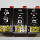 3 Black ink 252XL for Workforce WF-7110 7610 7620 3620 3640 Pro 5190 5620 5690