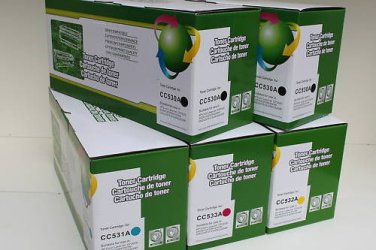 5 Toner Cartridge CC530A CC531A CC532A CC533A for HP CP2025 CM2320 Series Print