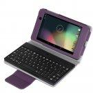 Purple Google Nexus 7 FHD 2nd Gen 2013PU Leather Bluetooth Keyboard Case Cover