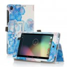 Flower-Blue New Google Nexus 7 II 2nd Android TabletPU Leather Case Cover Stand Multi-Color