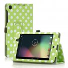 Polka Dot-Green New Google Nexus 7 II 2nd Android TabletPU Leather Case Cover Stand Multi-Color