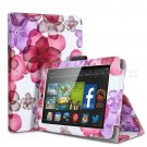 "For 2014 Amazon Kindle Fire HD 7""  Folio PU Leather Case Smart Cover Stand flower pink"