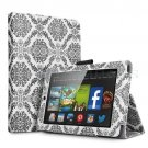 "For 2014 Amazon Kindle Fire HD 7""  Folio PU Leather Case Smart Cover Stand damask black"