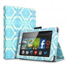 "For 2014 Amazon Kindle Fire HD 7""  Folio PU Leather Case Smart Cover Stand damask blue"