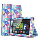 "For 2014 Amazon Kindle Fire HD 7""  Folio PU Leather Case Smart Cover Stand multi color diamond shape"