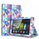 "For 2014 Amazon Kindle Fire HD 7""  Folio PU Leather Case Smart Cover Stand multi color diamond shape"