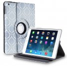 New Damask-Blue iPad Air 5 4 3 2 & iPad Mini PU Leather Case Smart Cover Stand