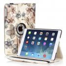 New Flower-Black iPad Air 5 4 3 2 & iPad Mini PU Leather Case Smart Cover Stand