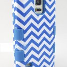 Blue Waves Pattern Samsung Galaxy S V 5 Active Sport Shock Proof Case Cover Stylus