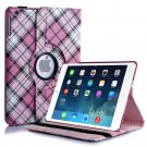 New Plaid-Pink iPad Air 5 4 3 2 & iPad Mini PU Leather Case Smart Cover Stand