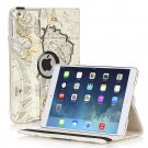 New Map-Beige iPad Air 4 3 2 & iPad Mini PU Leather Case Smart Cover Stand