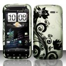 BLK Silver Vines Hard Snap-On Case Cover T mobile HTC Amaze 4g Phone Accessory