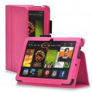 "New Plain-Hot Pink Kindle Fire HDX 7"" PU Leather Folio Stand Cover Case"