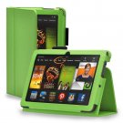"""New Plain-Green Kindle Fire HDX 7"""" PU Leather Folio Stand Cover Case"""