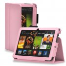 "New Plain-Pink Kindle Fire HDX 7"" PU Leather Folio Stand Cover Case"