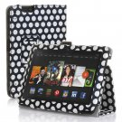 "New Polka Dot-Black Kindle Fire HDX 7"" PU Leather Folio Stand Cover Case"