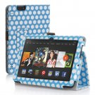 "New Polka Dot-Blue Kindle Fire HDX 7"" PU Leather Folio Stand Cover Case"