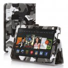 "New Camouflage-Black Kindle Fire HDX 7"" PU Leather Folio Stand Cover Case"