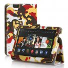 "New Camouflage-Yellow Kindle Fire HDX 7"" PU Leather Folio Stand Cover Case"