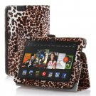 "New Lepord-Brown Kindle Fire HDX 7"" PU Leather Folio Stand Cover Case"
