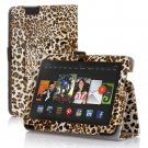 "New Lepord-Yellow Kindle Fire HDX 7"" PU Leather Folio Stand Cover Case"