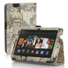 """New Map-Beige Kindle Fire HDX 7"""" PU Leather Folio Stand Cover Case"""