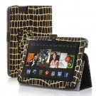 "New Golden Stripe-Black Kindle Fire HDX 7"" PU Leather Folio Stand Cover Case"