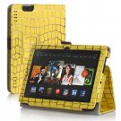 "New Golden Stripe-Yellow Kindle Fire HDX 7"" PU Leather Folio Stand Cover Case"