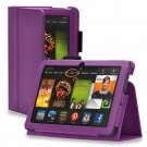 "New Plain-Purple Kindle Fire HDX 8.9"" 2013 PU Leather Folio Stand Cover Case"