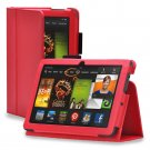 """New Plain-Red Kindle Fire HDX 8.9"""" 2013 PU Leather Folio Stand Cover Case"""