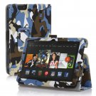 "New Camouflage-Blue Kindle Fire HDX 8.9"" 2013 PU Leather Folio Stand Cover Case"
