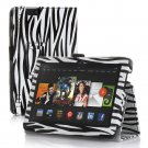 "New Zebra-Black Kindle Fire HDX 8.9"" 2013 PU Leather Folio Stand Cover Case"