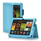 "New Plain-Blue Kindle Fire HD 7 2nd 2013"" 2013 PU Leather Folio Stand Cover Case"