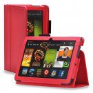 "New Plain-Red Kindle Fire HD 7 2nd 2013"" 2013 PU Leather Folio Stand Cover Case"