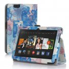 "New Flower-Blue Kindle Fire HD 7 2nd 2013"" 2013 PU Leather Folio Stand Cover Case"