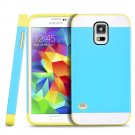 New Blue For Samsung Galaxy S5 Multi Toned Hybrid Skin Hard Case Cover